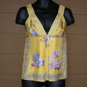 ETRO Silk Top, 40/4/S, Wide Straps, Signed Floral
